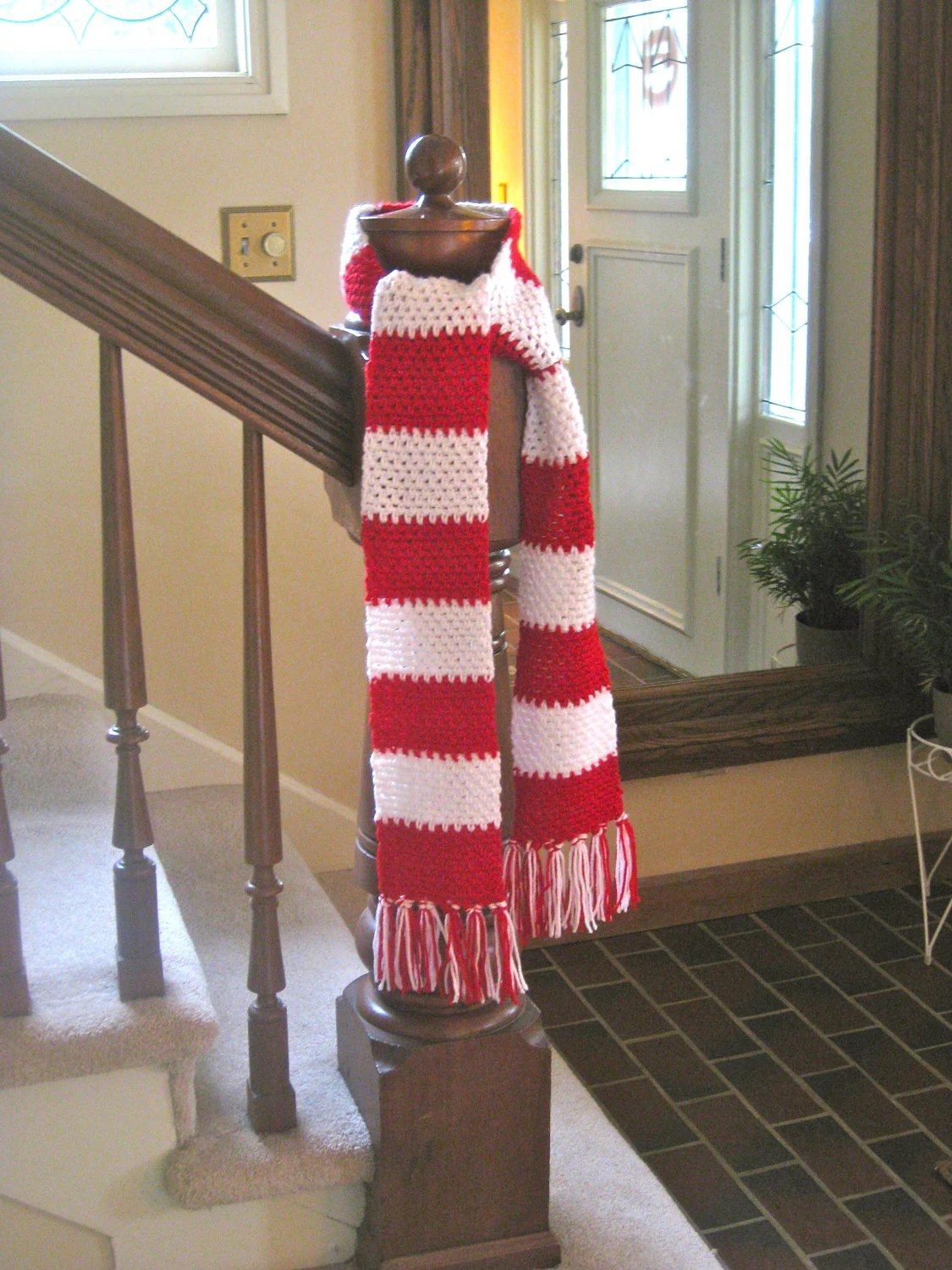 Christmas Scarf Red And White Striped Scarf Christmas
