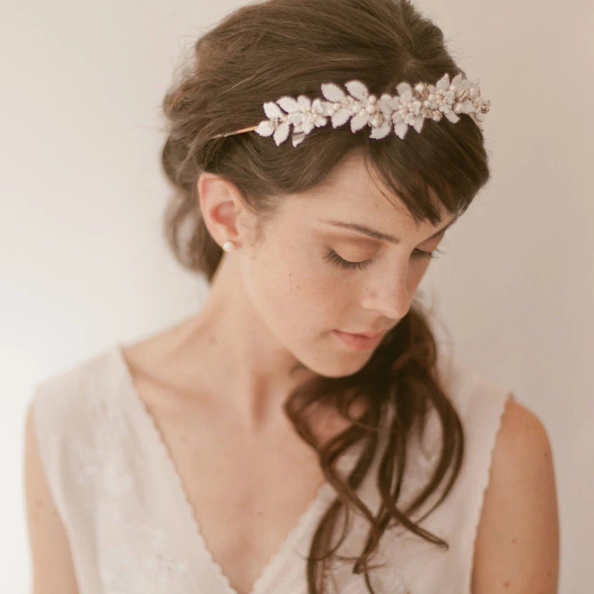 Bridal headpiece tiara - Enamel Vine Flowers 797