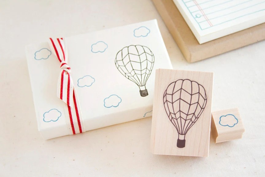 Hot Air Balloon and Little Cloud Rubber Stamp Set - Up, Up and Away - Fun Stamp To Color In - Scrapbook Cardmaking Gift Wrap - brownpigeon