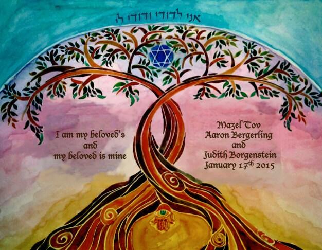PERSONALIZED WEDDING GIFT Jewish Wedding Anniversary Gift