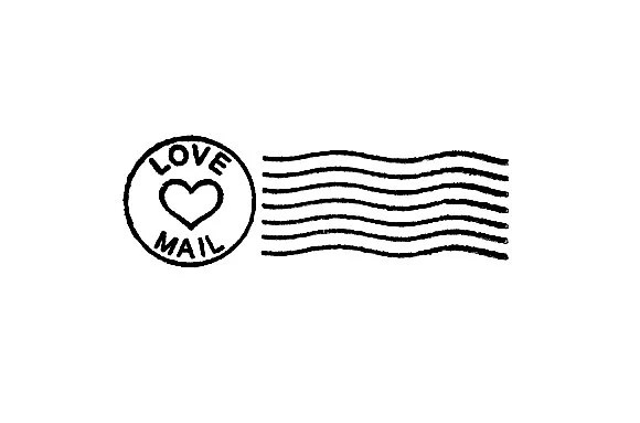 Love Mail Postal Cancellation Marks Valentines Day Rubber