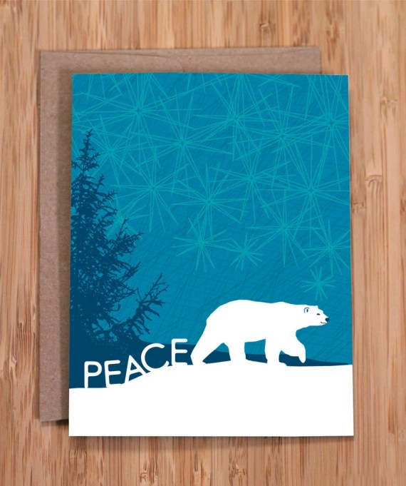 holiday card set / peace polar bear - ModernPrintedMatter