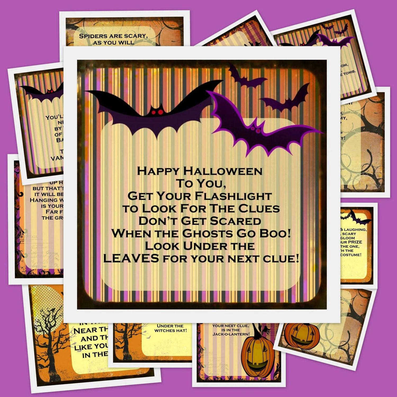 Printable Halloween Scavenger Hunt 11 Riddles And