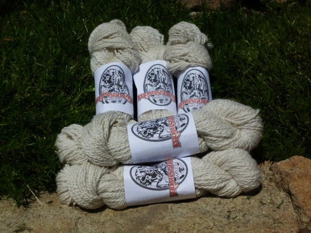Handspun Worsted Weight Natural White Cashmere Yarn