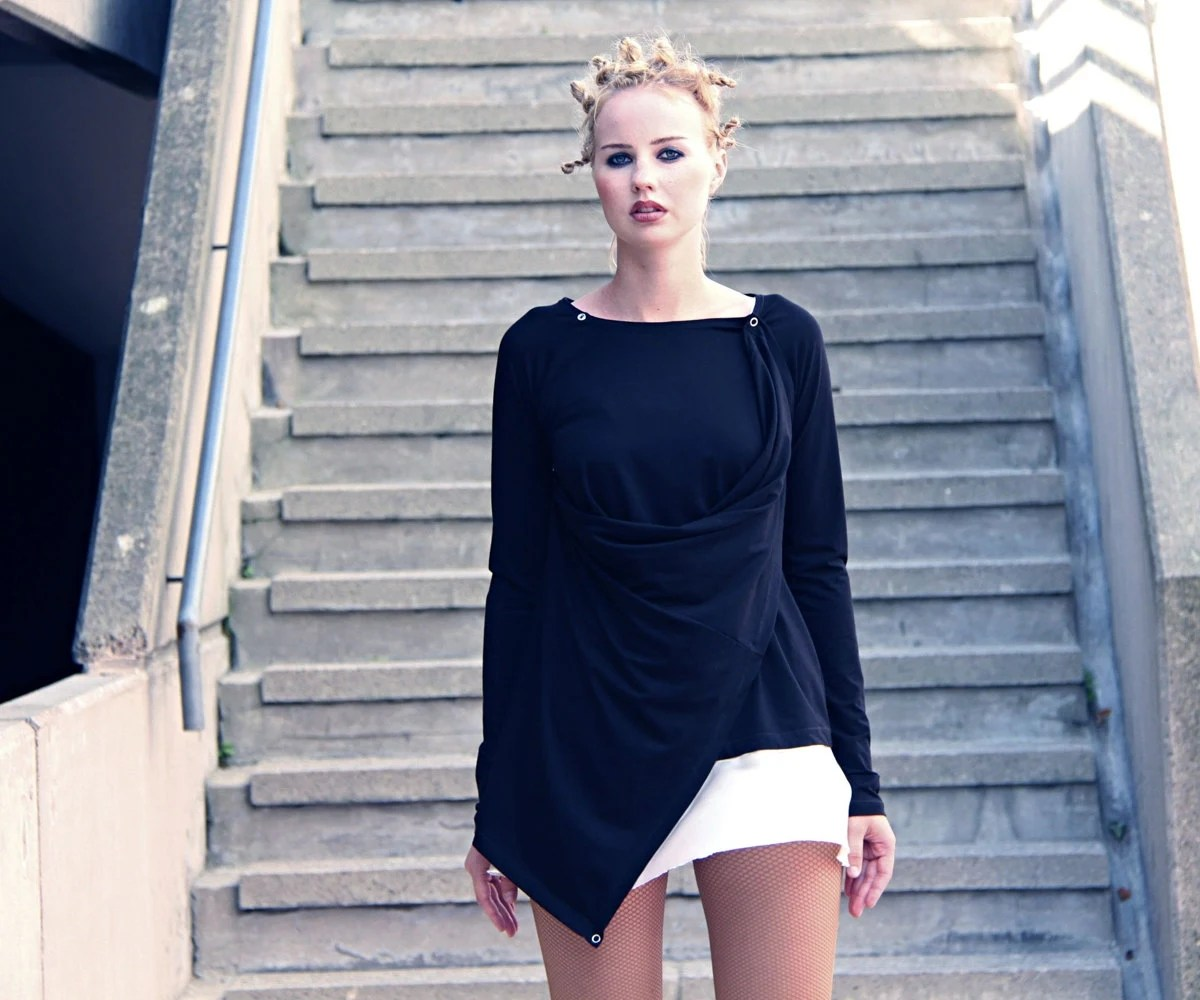 Black convertible asymmetric long sleeved jersey tunic -MADE TO ORDER - Vietto