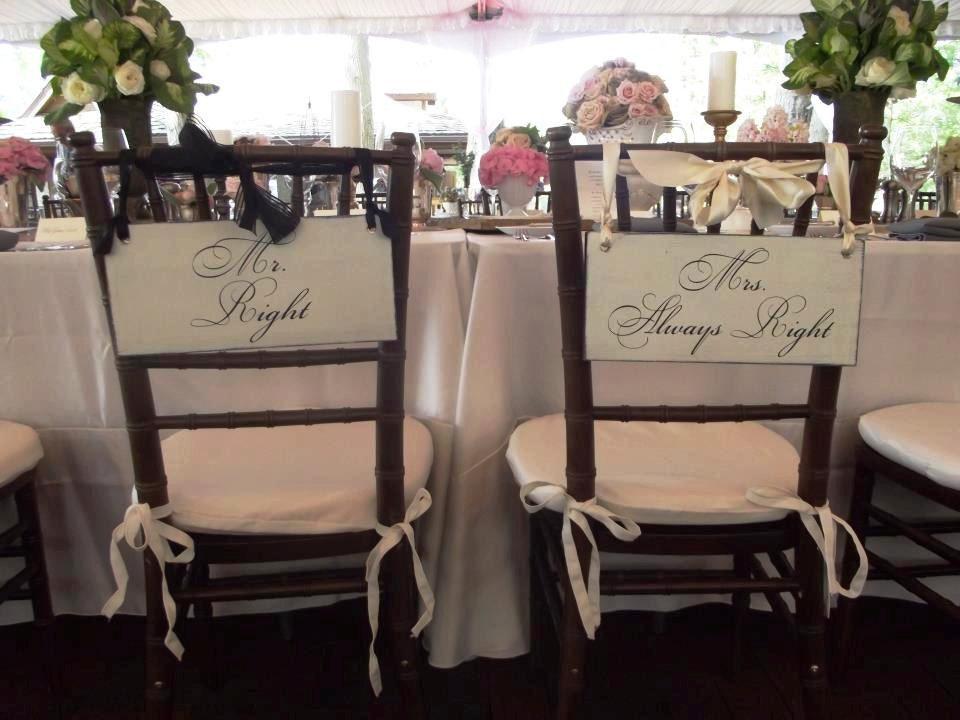 Wedding Signs Mr. Right & Mrs. Always Right Wedding Chair