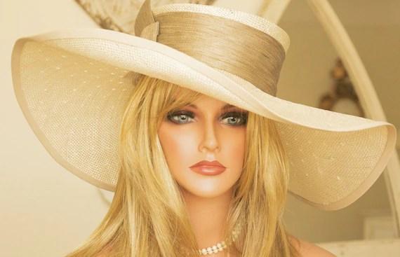 Wide Brim Cream Straw Hat. Kentucky Derby, Church Wedding - AwardDesign