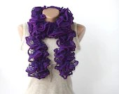 Purple ruffle scarf - ruffled frilly neckwarmer - gift under 25 for women - gifts for her spring accessories - violasboutique