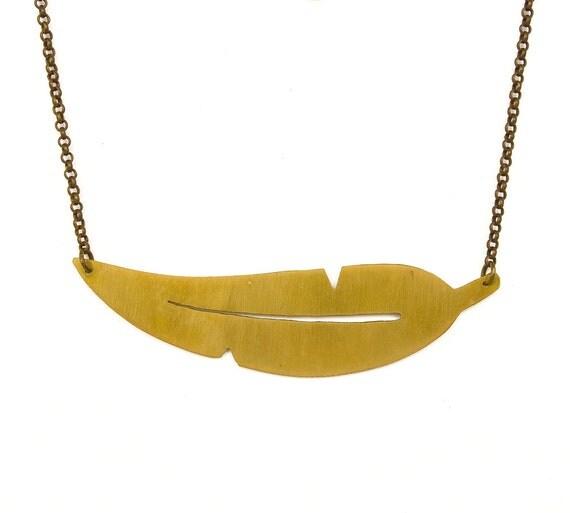LES FORMES - Collier laiton doré or fin Plume (FC03)