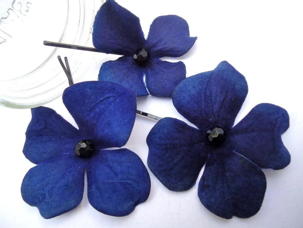 Dark Blue Hydrangea Bobby Pins Royal Blue Hair Flowers