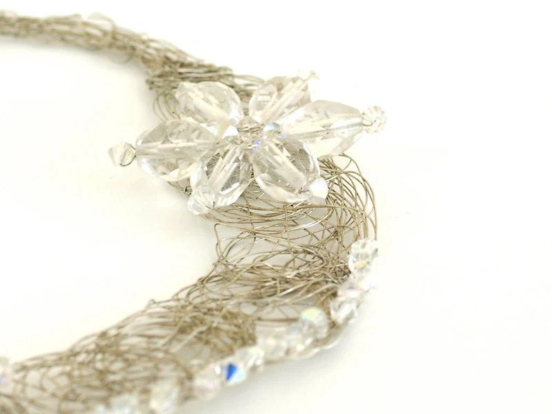 Bridal Statement Necklace Silver OOAK Crystals Wire Wrap Unique Jewelry Wedding - PinaraDesign