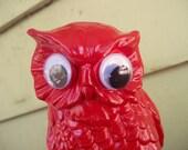 silly red owl upcycled ceramic figurine - SchwinkShop