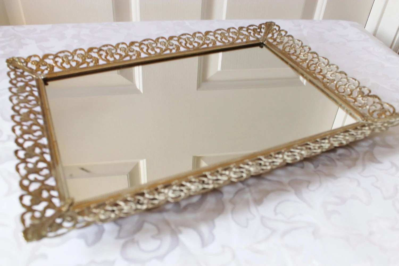 Vintage Gold Vanity Mirror Perfume Tray Metal Filigree
