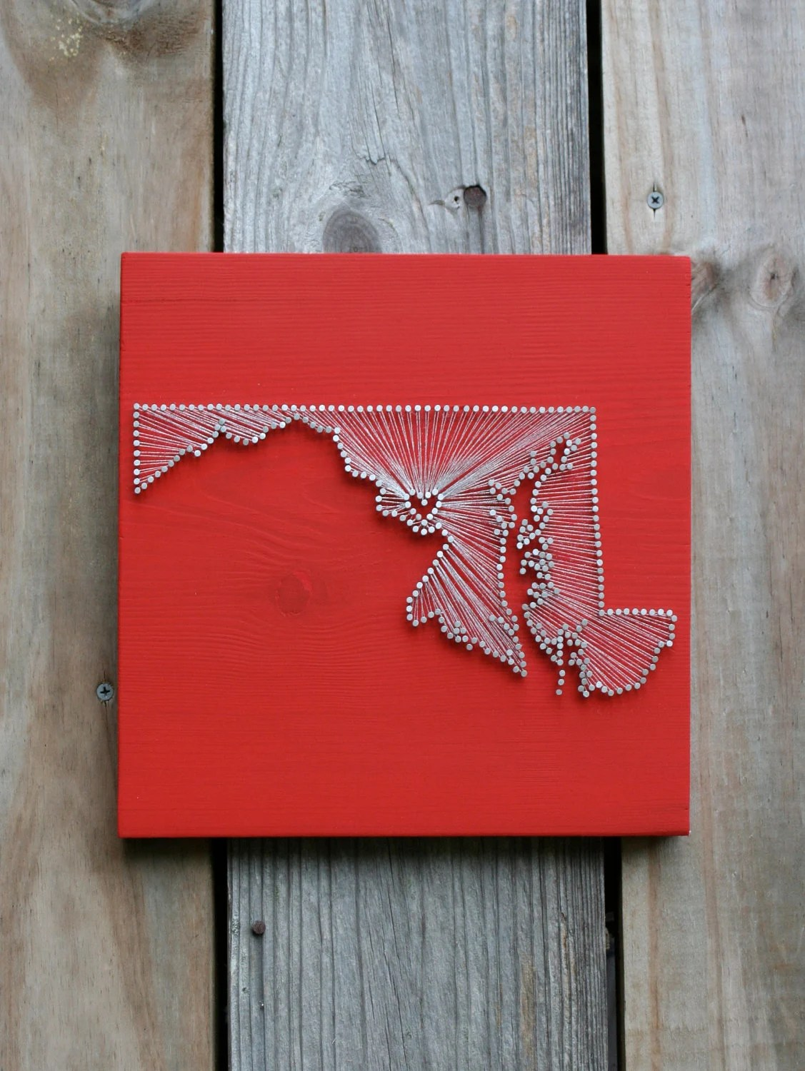 Maryland Love // Reclaimed Wood Nail and String Art Tribute to The Old Line State