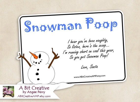 Snowman Poop Winter Christmas Stocking Stuffer Gag Gift Design - DIY Printable - ABitCreativeAMP