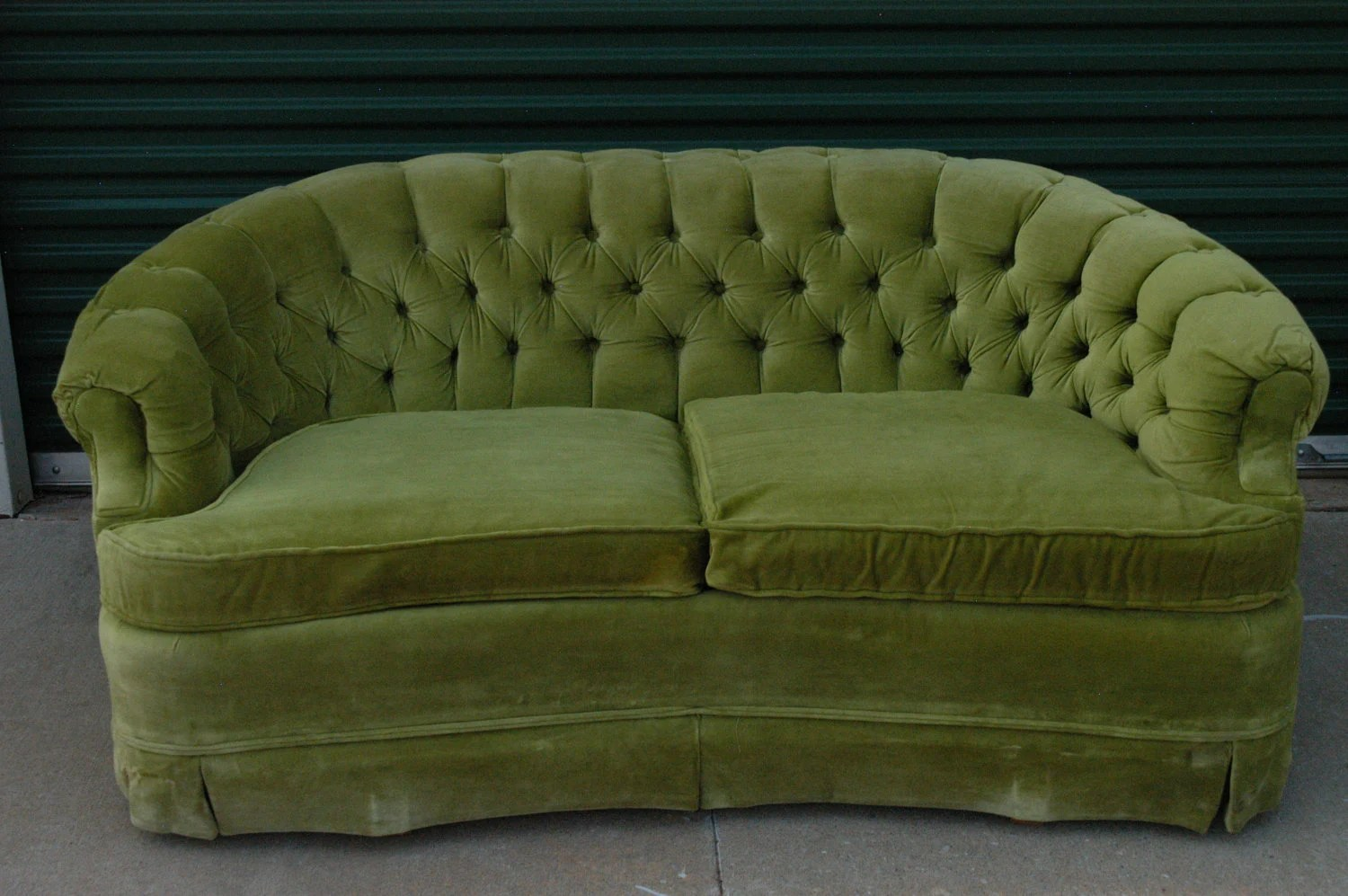 Vintage Lime Green Loveseat Sofa By Broyhill Tufted Velour