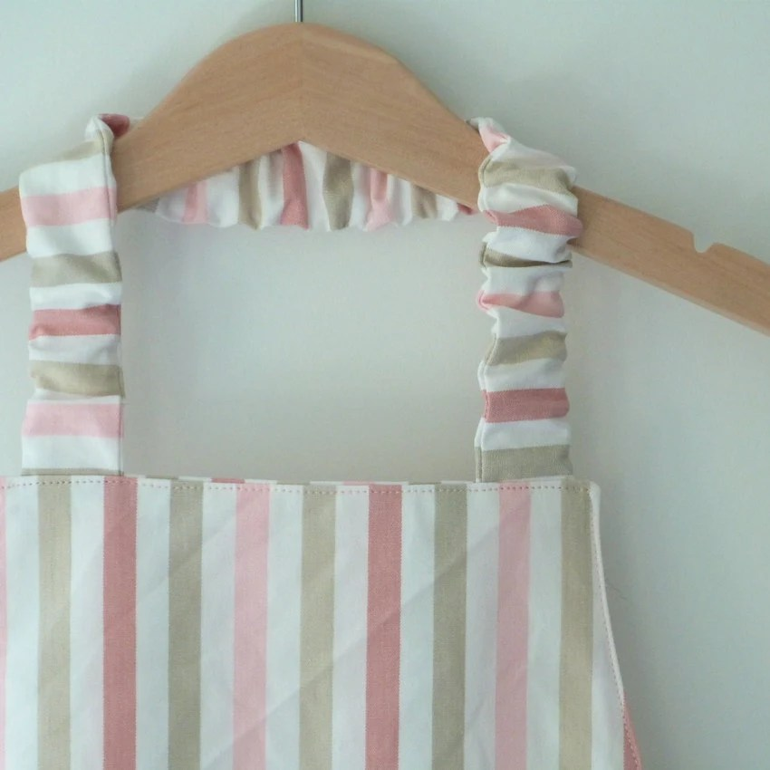 Girls Montessori Apron, Simple Kids' Apron, Preschool Apron, Striped Pastel Pink and Taupe, Fits 3-7 - LilaKids