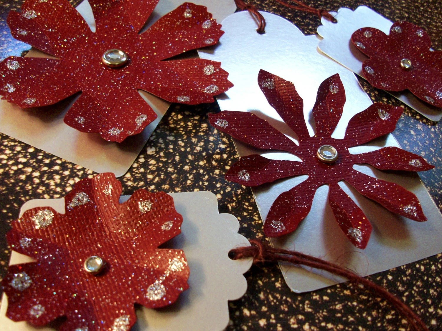 """Winter Holiday Gift Tags - Large 4 1/4"""" x 2""""- Silver Glitter Dark Red- Set of 4"""