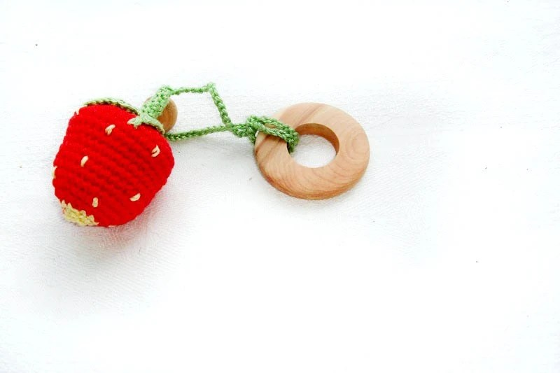 Strawberry Baby Teething Toy - Crochet toy - Fine motor skills development toy - Garden forest woodland - MiracleFromThreads