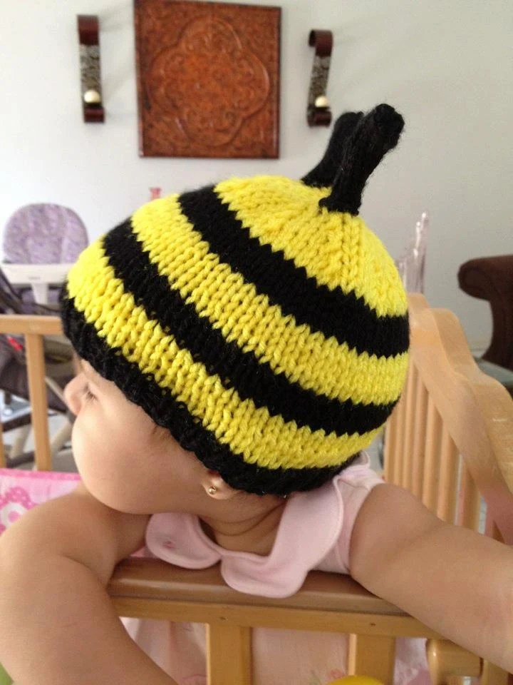 Unique Baby Bumble Bee baby or Toddler Hat With Antenna Yellow and Black all sizes - LailahsKnits