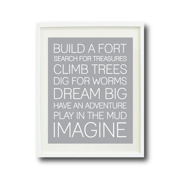 Boy Playroom Rule Quote 11x14 Titanium/Grey and White OR ...