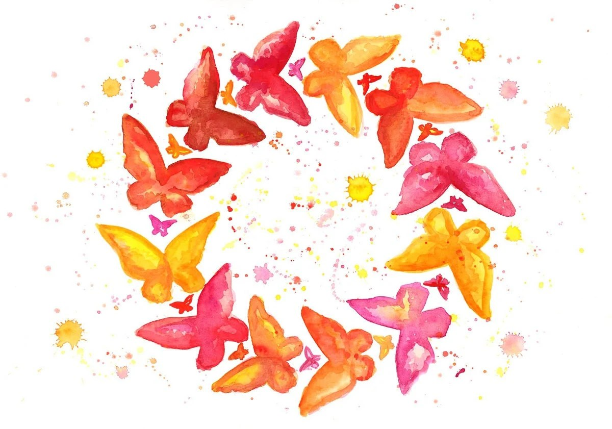 Watercolor Butterflies Illustration No. 6 - Fine Art Painting Nursery Art Baby Print - Mysoulfly