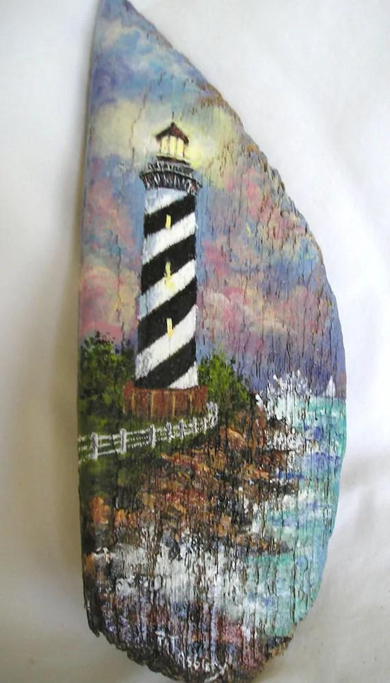 Nautical Lighthouse Painting On Driftwood By PatAsbury On Etsy