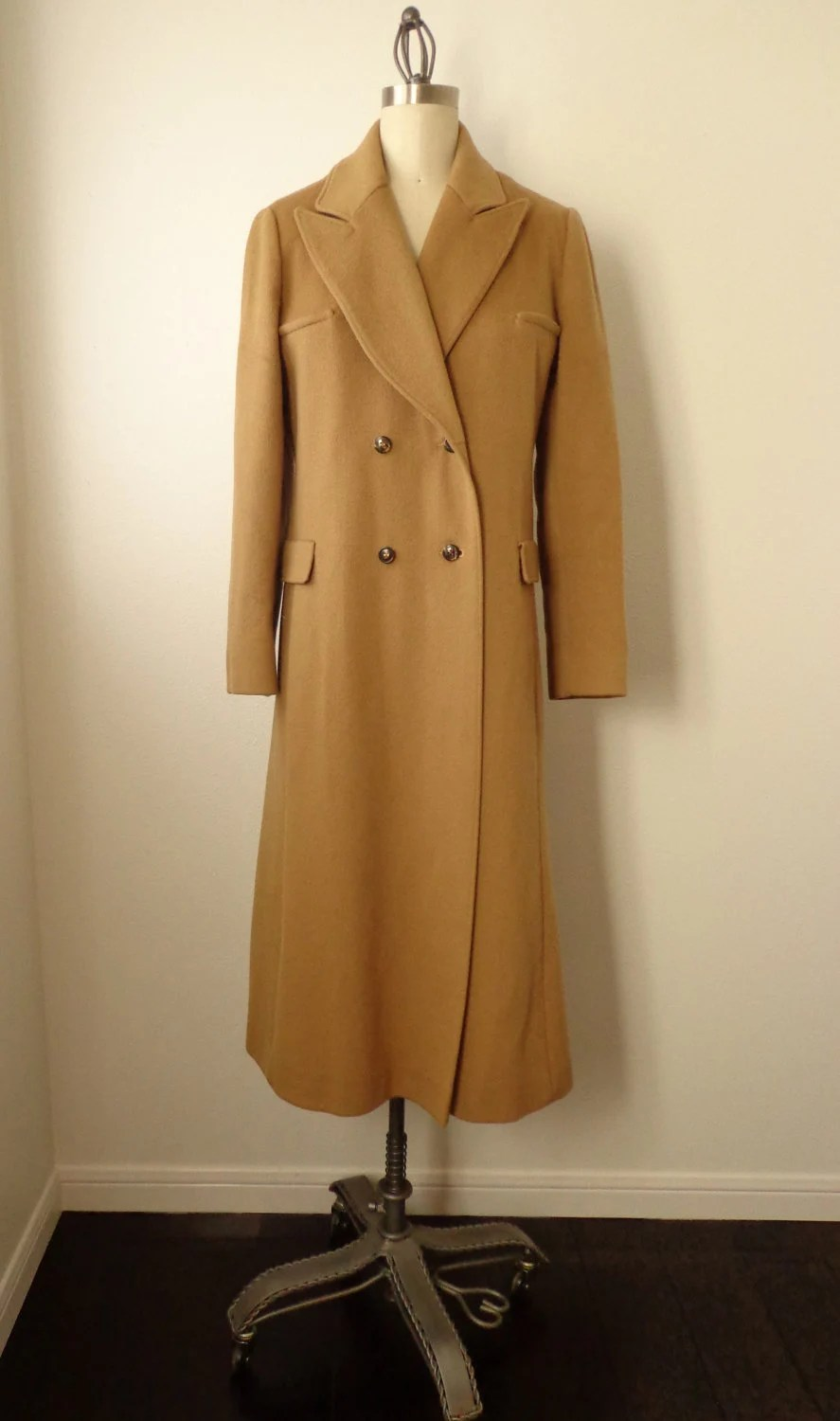 Vintage Coat Camel Color Wool Brown Nice Style Lines Size