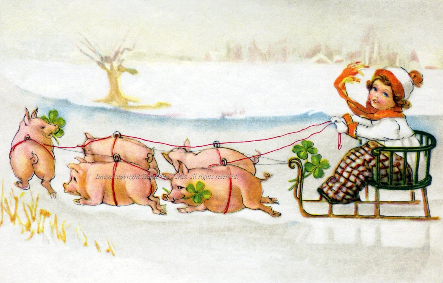New Year Card Pigs Pull Sled In Snow German Holiday Card