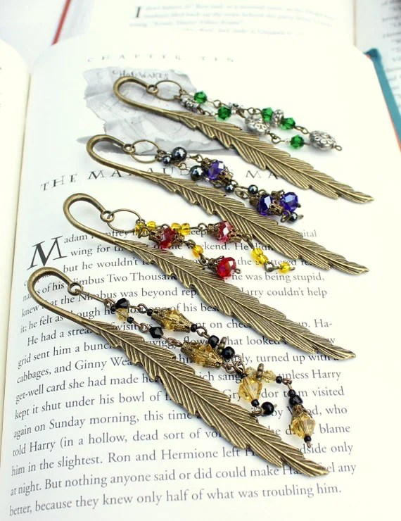 Hogwarts House Colors Bronze Metal Feather & Crystal Bookmarks
