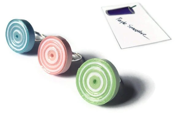 Pastel Bullseye Rings  - Pink, Blue, Green, Spiral, Statement, Paper Beads - PurpleSmoothie