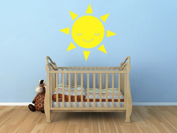 Smiling Sun Vinyl Decal Size MEDIUM - Sun, Sun Vinyl Wall Art, Sun Sticker, Sun Decor, Sun Decorations, Sun Art, Nursery Art, Kids room Art - AbbysVinylWallArt