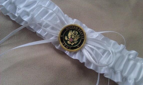 USA Army White Bridal Wedding Garter For Military By Allofyou