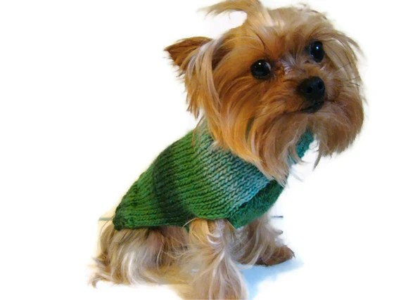 Dog Knit Turtleneck Sweater Cozy Wooly Teal Emerald Mint Jewel Stripes Ready to Ship and Custom - TheBluestSky