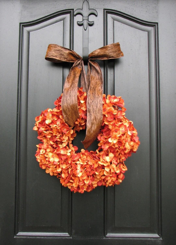 Pumpkin Pie Thanksgiving Wreath Fall Hydrangeas By Twoinspireyou