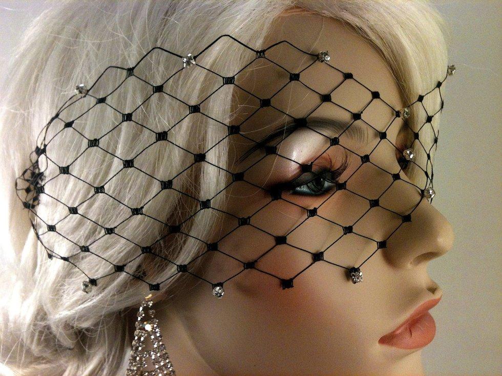 "Black, Ivory or White English Net Veil Mask with Rhinestones 3"" x 15"", Wedding Veil, Bridal Veil"