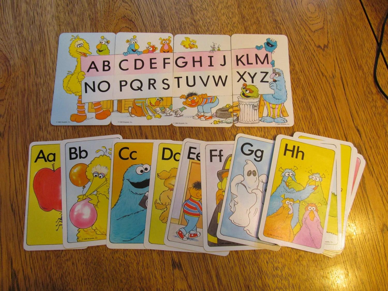 30 VINTAGE Flash Cards Sesame Street Alphabet Letters