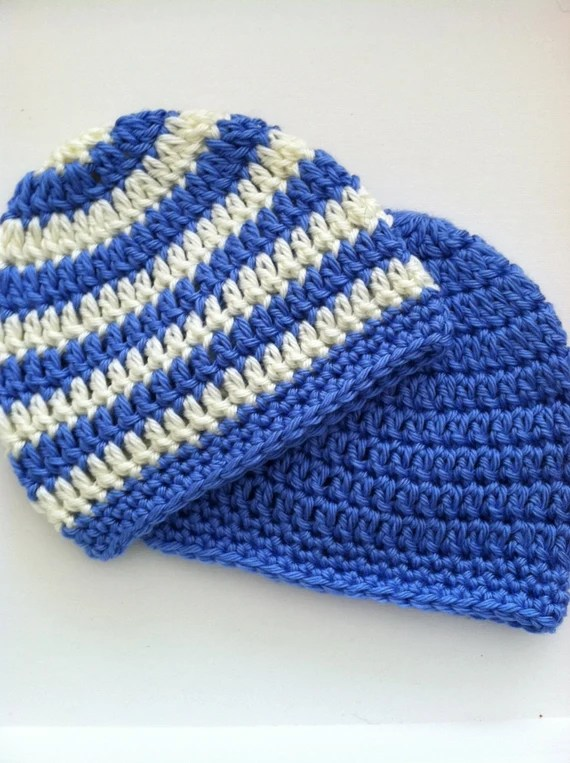 Medium Blue and Cream Prep Set, Crochet Baby Hats, Newborn Beanies, Blue Hat, Medium Blue and Cream Stripe Baby Hat, Crochet Baby Beanies