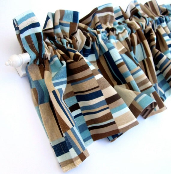FOCUS Valance Curtains Brown Tan Blue Teal Stripes 53 Inches