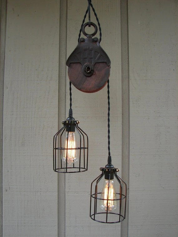 RESERVED For PAISLEY Upcycled Vintage Farm Pulley Lighting