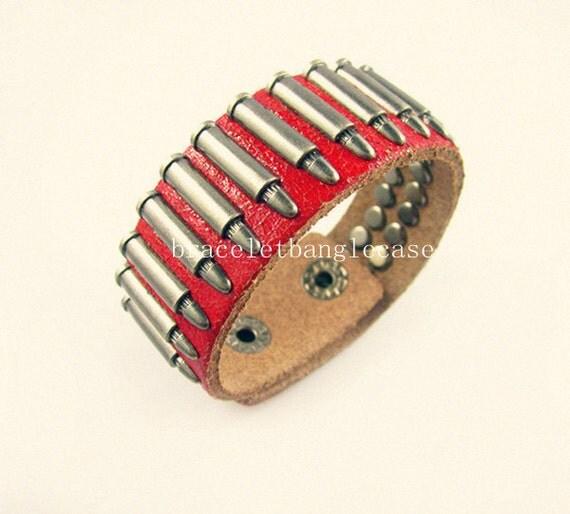 red leather bracelet (etsy)