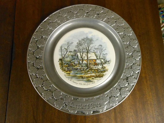 CURRIER Amp IVES PEWTER Decorating Plate Winter By
