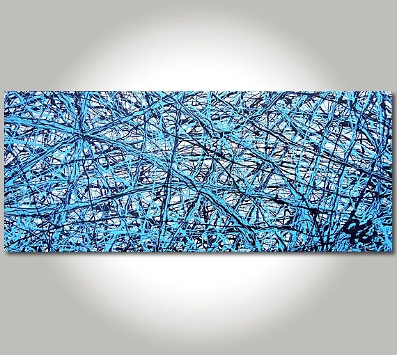 ORIGINAL Abstract Jackson Pollock style, Black, Blue, Light Blue, Mixed Media Arcylic & Oil Painting Size: 40 x 16 x 1.5 - FINEARTbyJC