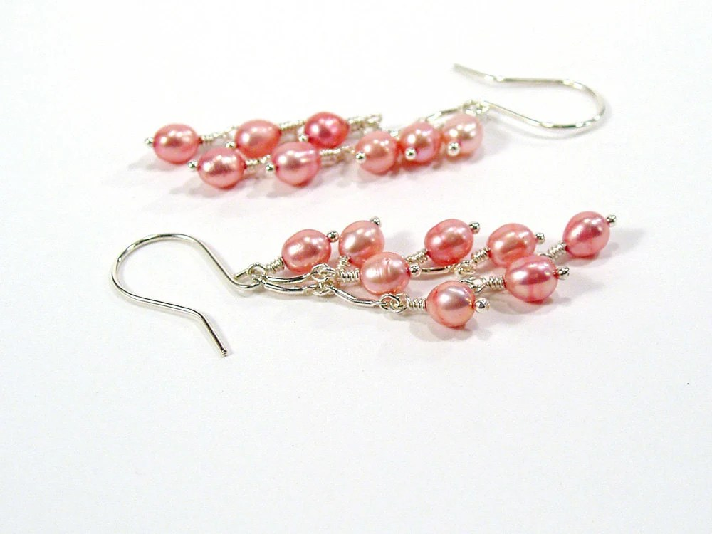 Cascade Earrings, Pink Pearl Earrings, Bridal Earrings, Sterling Silver - bluetina