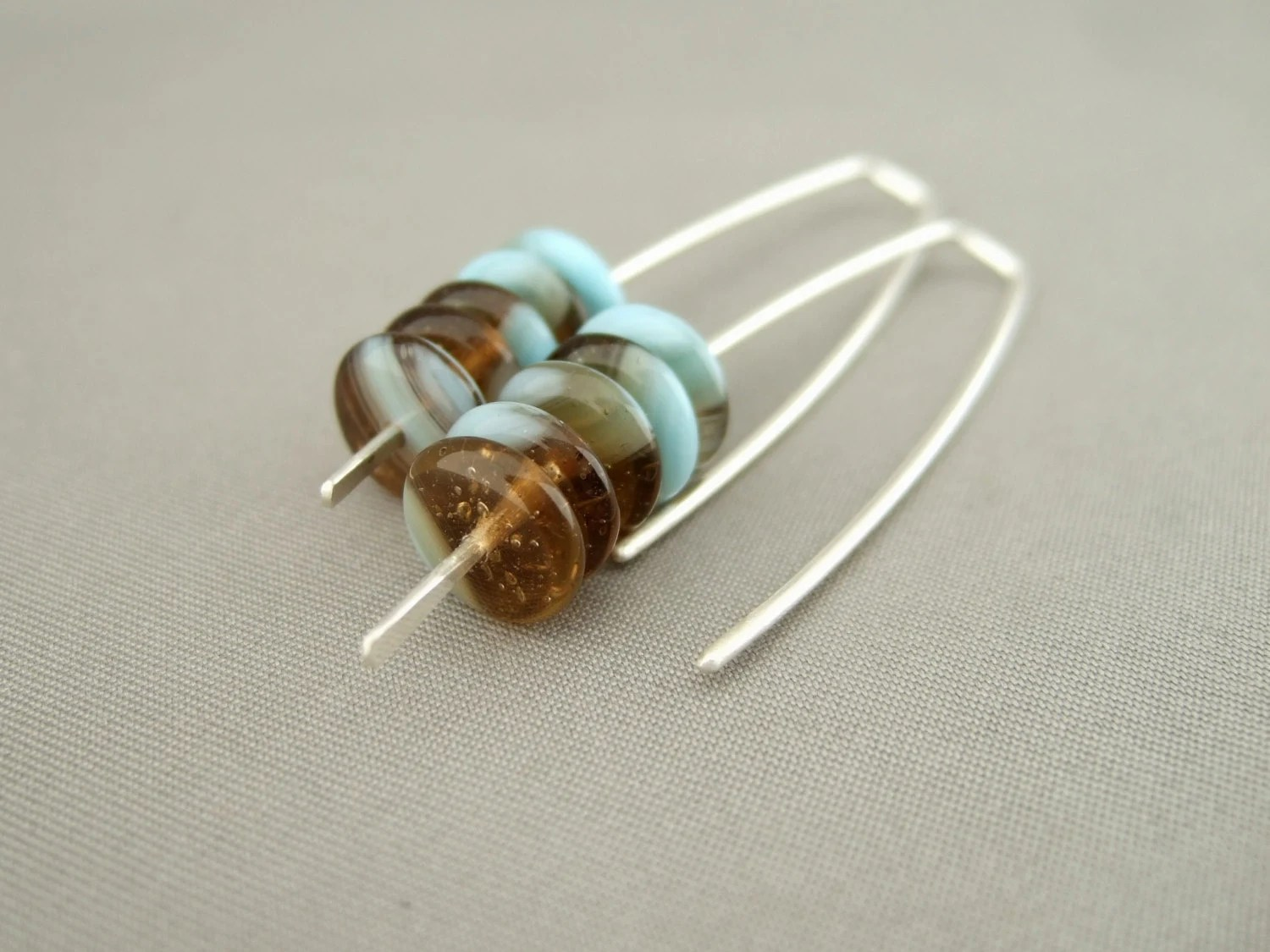 Blue and Brown Stacked Czech Glass and Sterling Silver Earrings - TheSilverForge