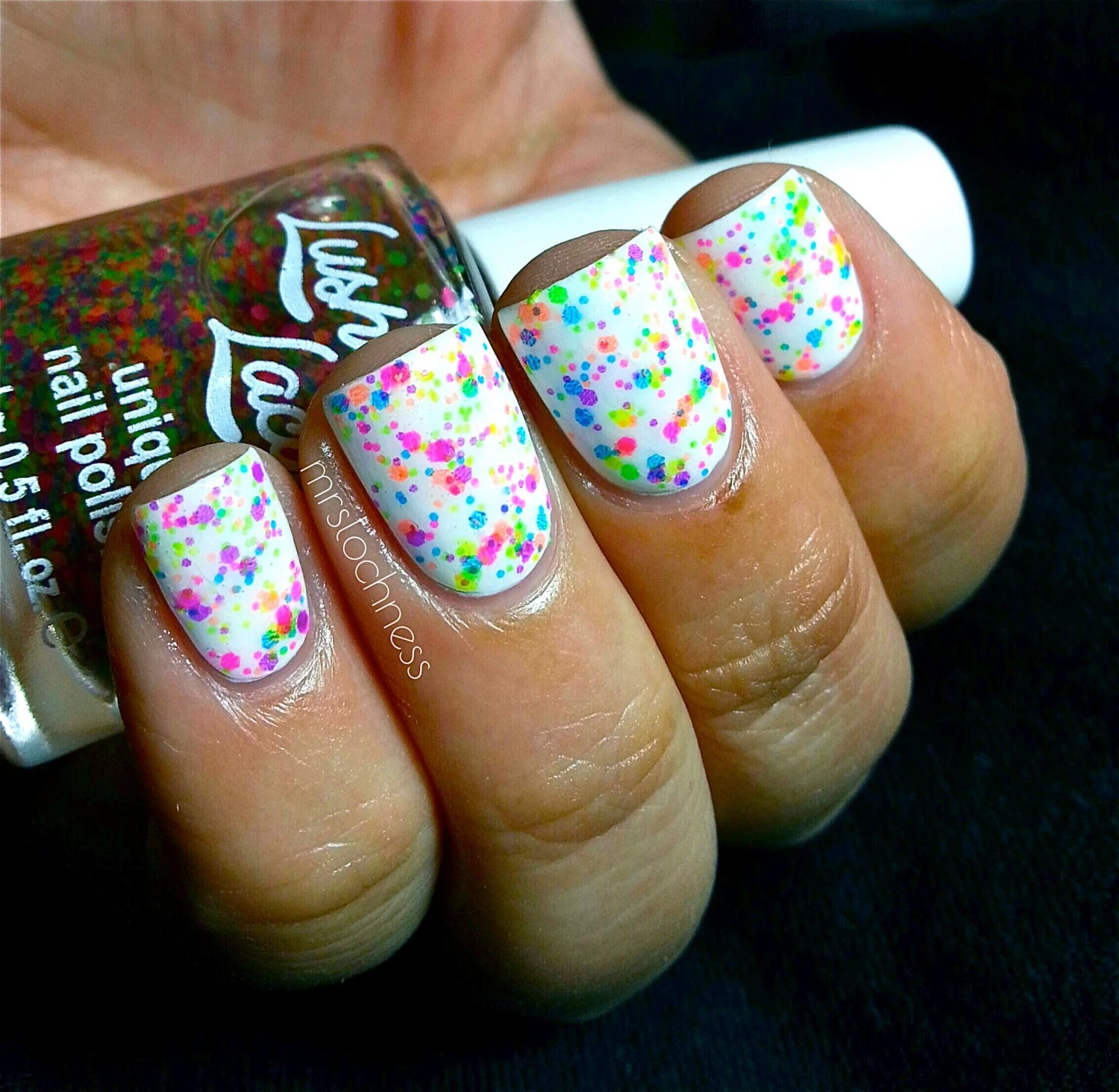 NEW Neon--FRECKLES:  Custom-Blended NEON Glitter Nail Polish / Lacquer/ indie polish