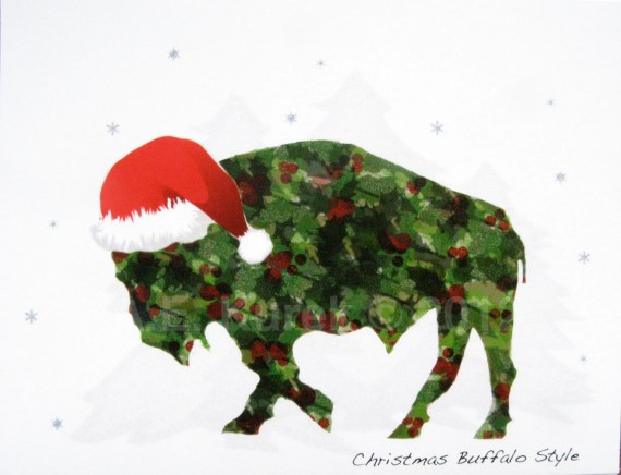 Holly Buffalo in Santa Hat  -  Blank Christmas Holiday Note Cards - SET of 2 - SilentMyloStudio