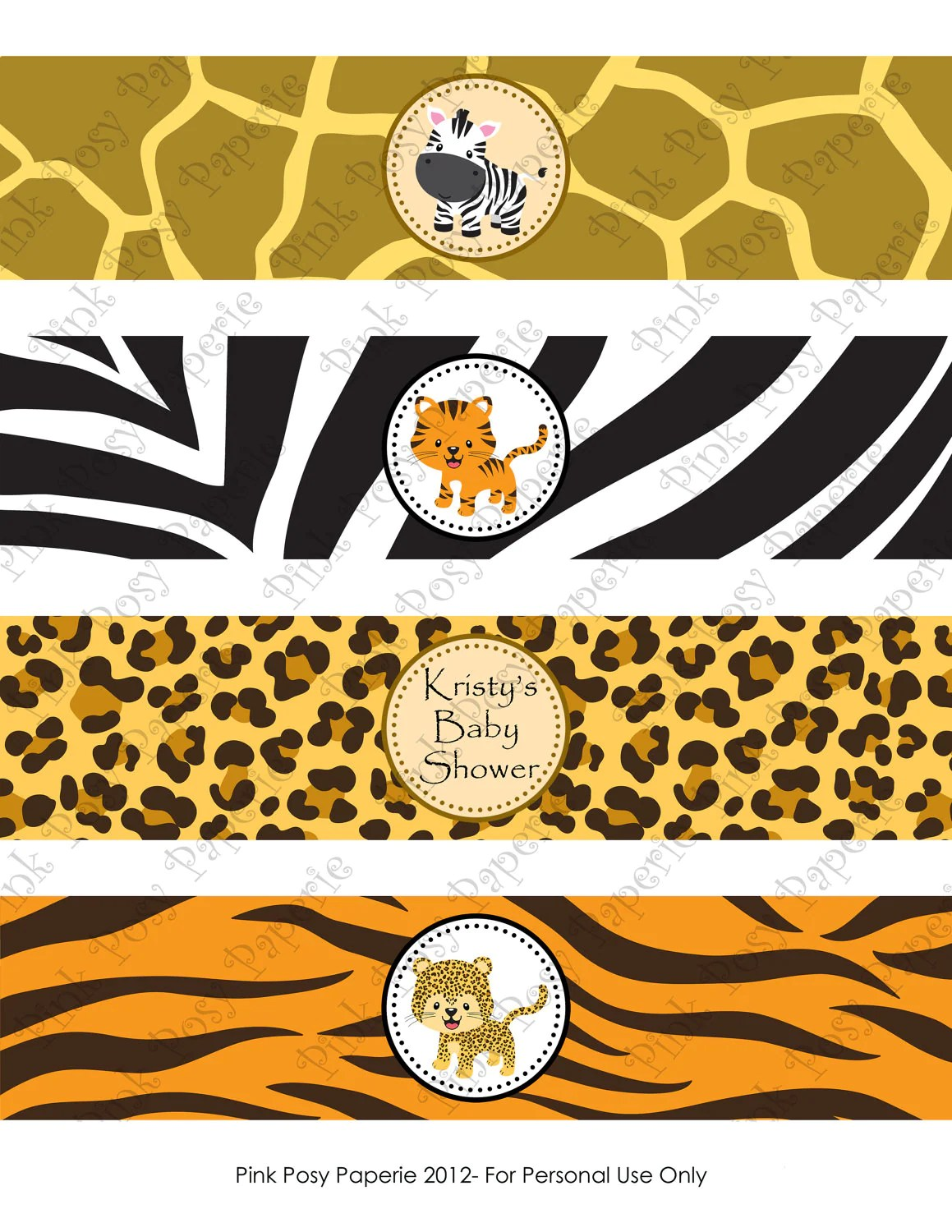 Printable Safari Baby Shower Water Bottle Wrappers