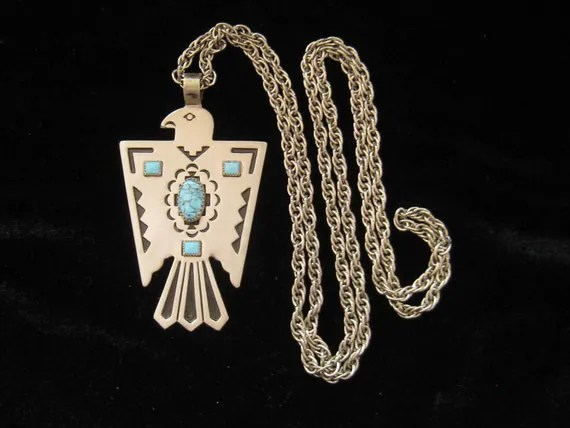 Vintage Bell Trading Post Nickel Silver Eagle Necklace