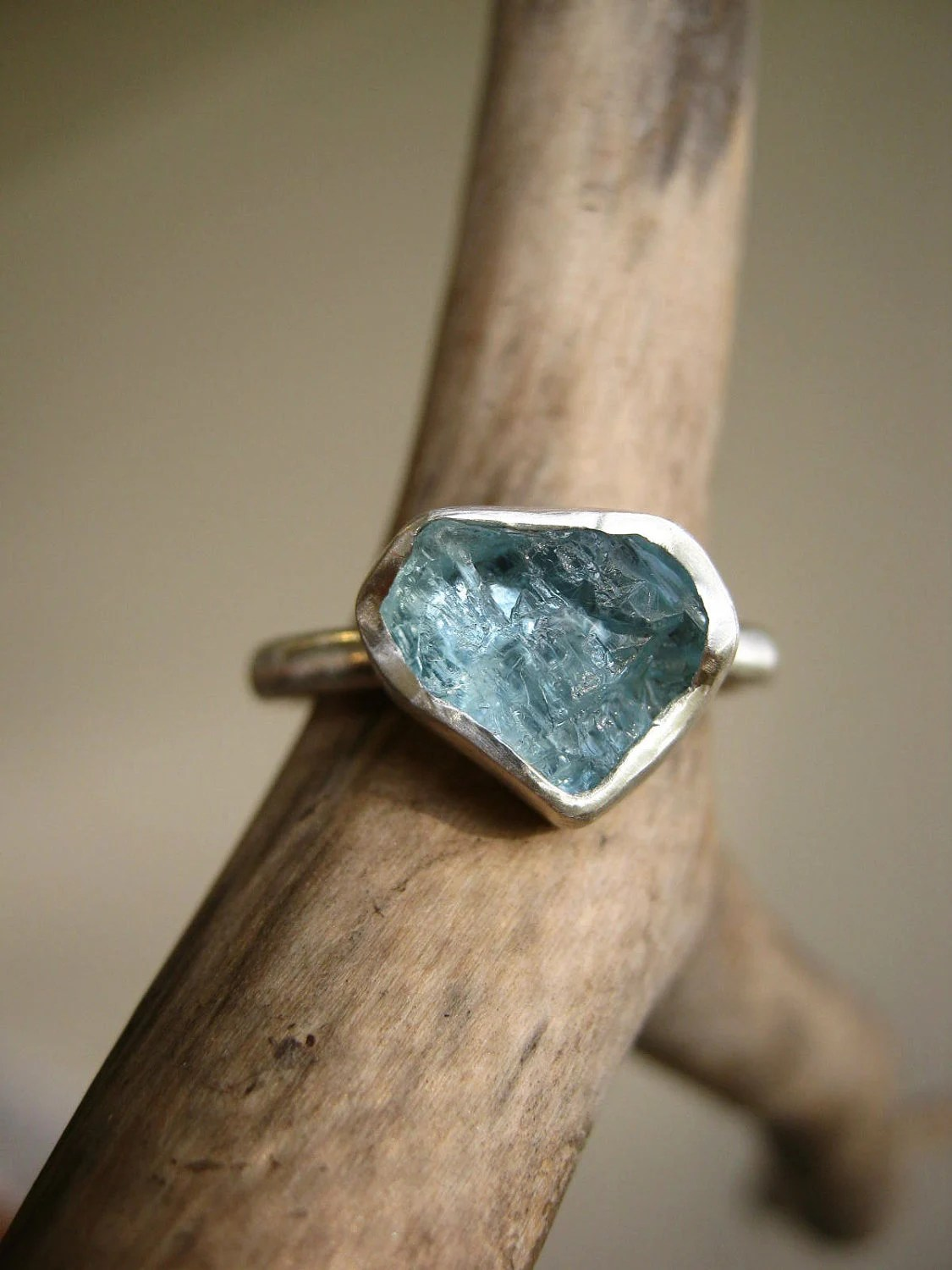 Custom select your Rough Aquamarine ring - Sterling silver